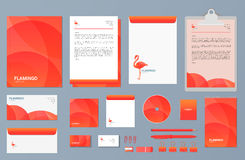 Flamingo Set of business stationery, corporate branding identity and flamingo logo design template. Royalty Free Stock Photography