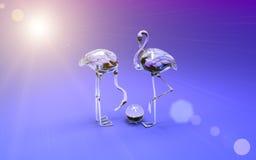 flamingo som 3d göras av kulört exponeringsglas Kickupplösning 3D framför Arkivfoto