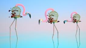 Flamingo som göras av fågelburar Royaltyfria Foton