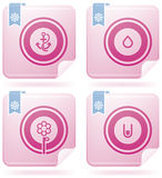 Flamingo Square 2D Icons Set: Abstract Royalty Free Stock Images