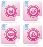 Flamingo Square 2D Icons Set: Abstract Royalty Free Stock Image