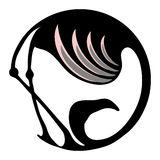 Flamingo stylized symbol or logo in a circle Stock Photos