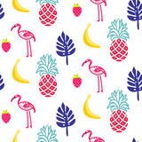 Flamingo summer seamless vector texture. Royalty Free Stock Images