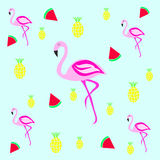 Flamingo texture with fruits ilustracji