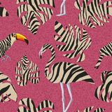 Flamingo and toucan in zebra style seamless Royalty Free Stock Image
