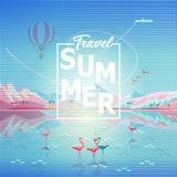 Flamingo tropical da praia do mar da reflexão das montanhas rochosas da aventura do curso do verão ilustração royalty free