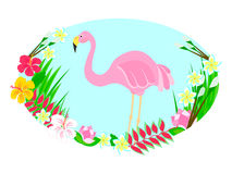 Flamingo and tropical flowers stock illustration