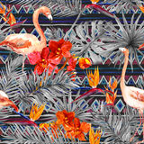 Flamingo, tropical leaves, exotic flowers. Seamless tribal background. Watercolor Stock Photography