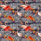 Flamingo, tropical leaves, exotic flowers. Seamless tribal background. Watercolor Royalty Free Stock Photo