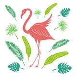 Flamingo and tropical leaves of palm and banana. Bright summer set. Stylized vector illustration. royalty free illustration