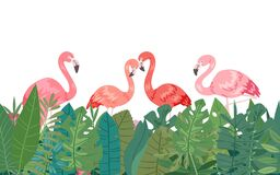 Flamingo in tropical paradise banner horizontal border frame template, vector illustration. Decorated with jungle palm