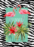 Flamingo and tropical plants watercolor summer illustration Stock Photo