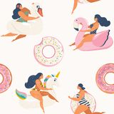 Flamingo, unicorn, swan and sweet donut inflatable swimming pool floats Vector seamless pattern. Royalty Free Stock Photography