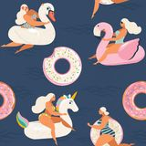 Flamingo, unicorn, swan and sweet donut inflatable swimming pool floats Vector seamless pattern. Stock Photos
