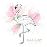 flamingo Vektorillustration med en flamingo Tropisk fågel logo Arkivbilder