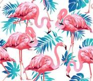 Flamingo-Vogel und tropischer Blumen-Hintergrund vektor abbildung