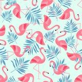Flamingo-Vogel und tropischer Blumen-Hintergrund - Retro- nahtloses Muster vektor abbildung