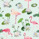 Flamingo-Vogel und Waterlily-Blumen-Hintergrund Retro- nahtloses Muster stock abbildung