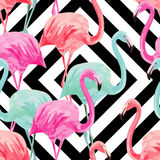 Flamingo watercolor pattern, geometric background Stock Photo