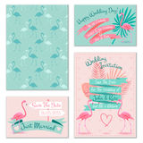 Flamingo wedding invitation cards Royalty Free Stock Photography