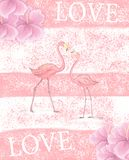 Flamingo wedding invitation, greeting card with pink flamingos. Beautiful watercolor illustration of love birds