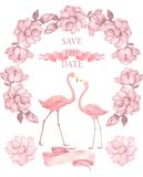 Flamingo wedding invitation, greeting card with pink flamingos. Beautiful watercolor illustration of love birds. Flamingo wedding invitation, greeting card with royalty free stock image