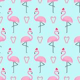 Flamingo in xmas hat with candy cane heart seamless pattern. Stock Photography