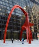 Flamingobeeldhouwwerk in Chicago Stock Foto
