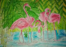 Flamingoes acrylic drawing on canvas royalty free stock image