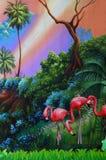 Flamingoes op stadium vector illustratie
