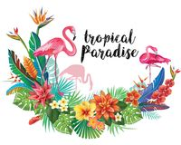 Flamingoes with tropical flowers Stock Photography