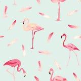 Flamingofågelbakgrund retro seamless för modell royaltyfri illustrationer