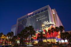 Flamingohotell på natten i Las Vegas, NV på Juli 13, 2013 Royaltyfria Foton