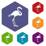 Flamingoikonen eingestellt stock abbildung