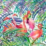 flamingoillustration Tropisk exotisk skog, gröna sidor, djurliv, illustration för fågelflamingovattenfärg royaltyfri illustrationer