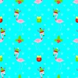 Flamingokarikatur-Weihnachtsnahtloses Muster Lizenzfreies Stockbild