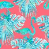 Flamingomodell Sommarvattenfärgbakgrund Royaltyfria Bilder