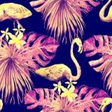 Flamingomodell Sommarvattenfärgbakgrund Royaltyfri Foto