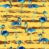 Flamingopatroon De achtergrond van de de zomerwaterverf Stock Afbeeldingen