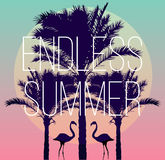 Flamingos and a banana palm tree. Silhouette tropic birds flamingos and a banana palm tree in the background paradise sunset vacation sea beach. The artwork in Stock Image