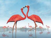 Flamingos Courtship - 3D Render Royalty Free Stock Photo