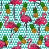 Flamingos e abacaxis ilustração royalty free