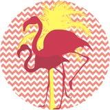Flamingos e palmeira em um fundo cor-de-rosa Imagens de Stock