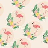 Flamingos exotic seamless pattern Stock Photo
