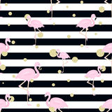 Flamingos, glitter polka dots and stripes. Seamless background with flamingos, stripes and gold glitter polka dot Stock Image