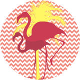 Flamingos and palm tree on a pink background. Flamingos and tropical palm tree on a pink background Stock Images