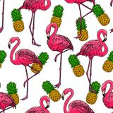 Flamingos and pineapples. Beautiful seamless pattern of pink hand-drawn flamingos and ripe pineapples vector illustration