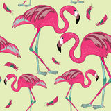 Flamingos with red and green feathers. Seamless pattern. Vector illustration on yellow background. Hand drawn flamingos with red feathers. Seamless pattern royalty free illustration