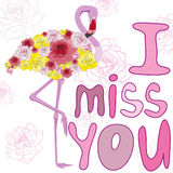 Flamingos and roses. With the inscription: I miss you Stock Photos