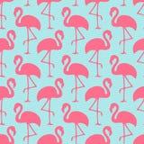 Flamingos sem emenda Ans Waves Pink And Blue do teste padrão ilustração royalty free